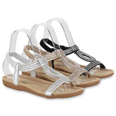 Damen Sandalen Riemchensandalen Strass Elegante Sommerschuhe 830613 Schuhe