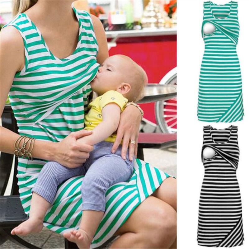 Sleeveless Maternity Dresses Nursing Breastfeeding Dress For Pregnant Women