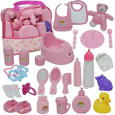 Baby Alive Accessories Doll Bag Lot New Feeding Set Kit Girl Safe For Kids Pink Baby Doll Feeding Set