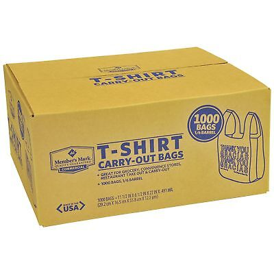 T-shirt Carry Out Thank You Plastic Shopping Grocery Bags 1000ct 100 Recyclable