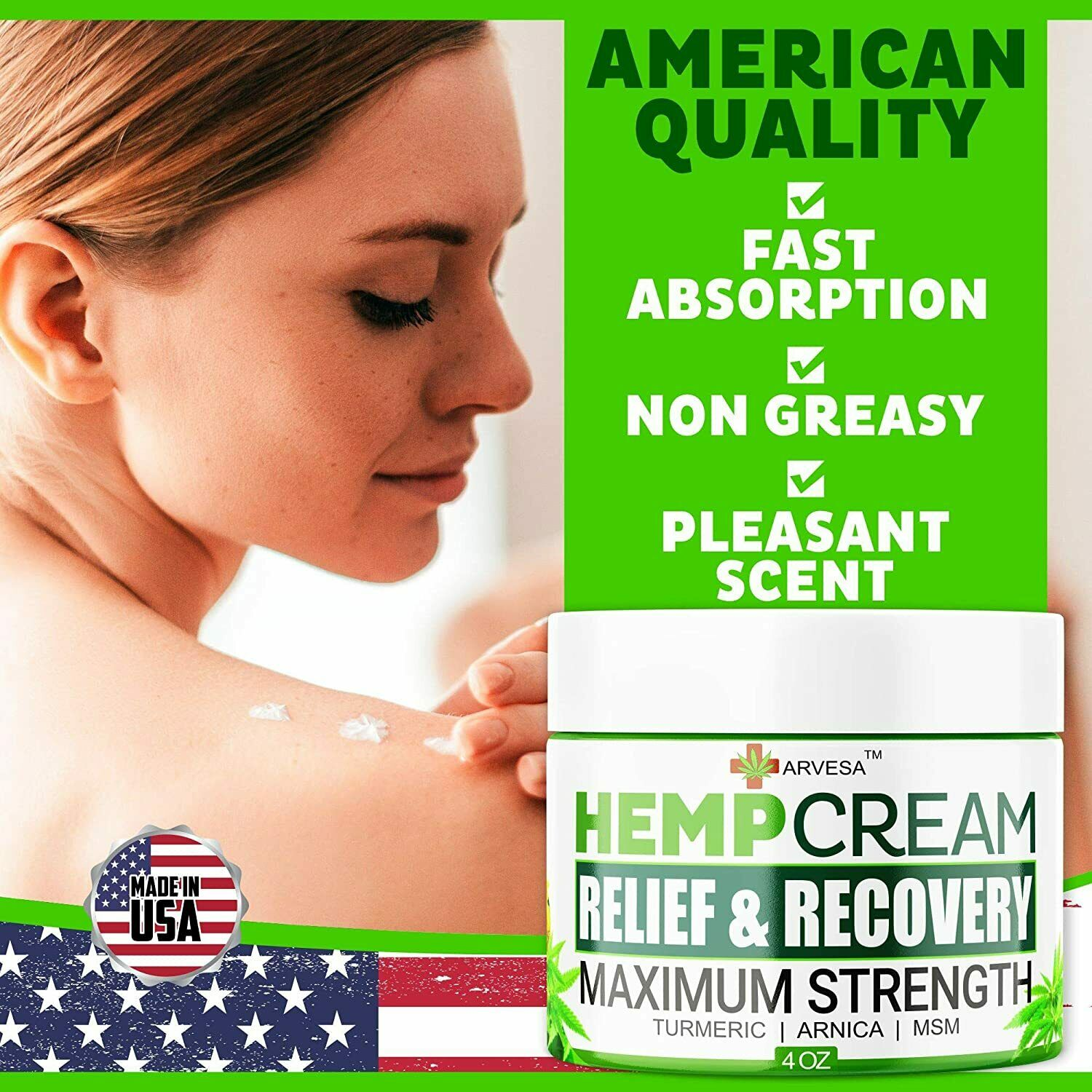 Instant Hemp Pain Relief Cream 8M Muscle Joint Foot Back Turmeric Arnica 4oz USA 5