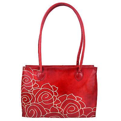 Hand Tooled Hand Painted Pure Leather Shantiniketan Red Floral Handbag