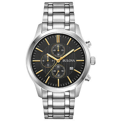 Bulova Men's Quartz Chronograph Silver-Tone Bracelet 43mm Watch 96B305