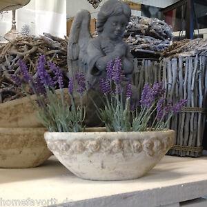Pflanzenschale Blumenschale Blumentopf Landhaus Deko vintage Shabby Stein Vase