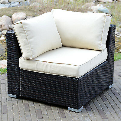 Outdoor Rattan Wicker Corner Sofa Couch Patio Garden Furniture w/ Cushion Brown ()
