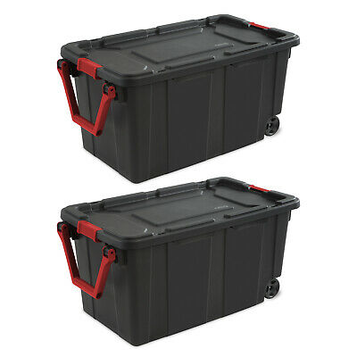 Wheeled Tote Plastic Storage Container Box With Lid 40 Gal O