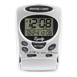 31300 Equity by La Crosse LCD Digital Fold-Up Travel Alarm Clock - Silver NIB