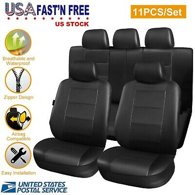 Seat Cover Complete Set Front Back Protector for Car Truck SUV-PU Leather-11 PCS