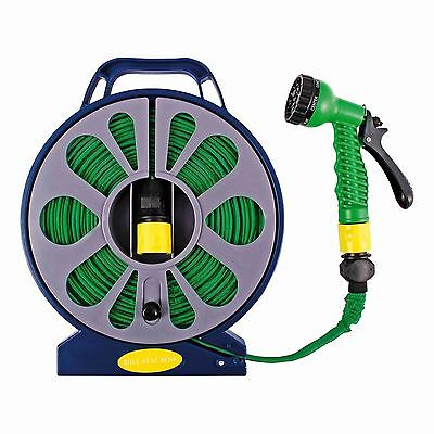 50FT Flat Garden Hose Pipe & Reel With Spray Nozzle Gun Outdoor Watering 15m