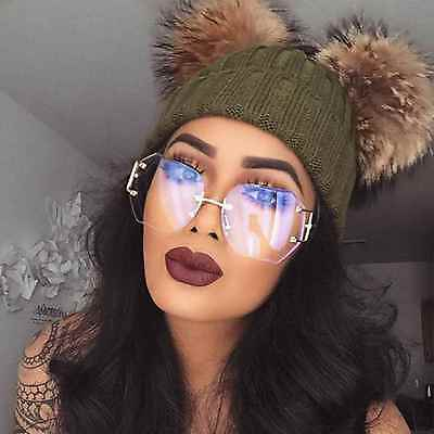 Lens Rimless Sunglasses Shades ( Women Oversized Rimless Sunglasses Clear and Gradient Lens Metal Frame Retro )