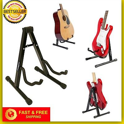 Black CC MiniGs Folding Stand For Acoustic & Electric Guitars With Secure Lock