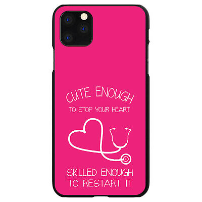 Hard Case Cover for Apple iPhone (Pick Model) Hot Pink Nurse Stethoscope Heart Hot Pink Hard Case Cover