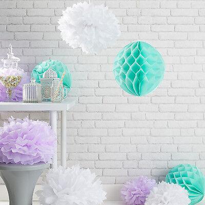 9er Set Pompoms Wabenball Party Dekoration Weiß Flieder Mintgrün Papier Blumen