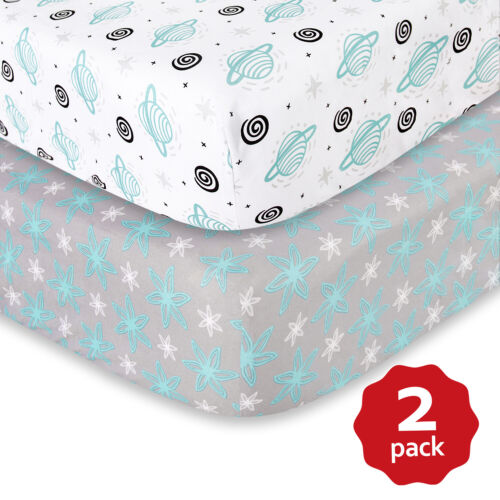 "Soft Crib Sheets Fits Standard Size Crib 52""x28"" White & Gray 2 pack"