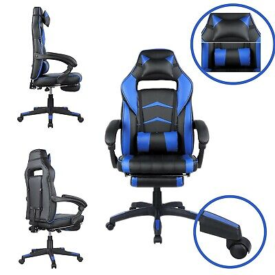 Office Gaming Chair Racing Ergonomic High Back Computer Task Seat Recliner Blue