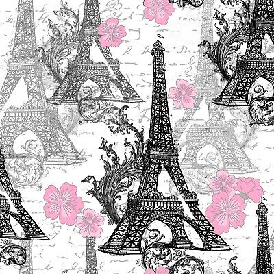 Fabric Paris Eiffel Tower Black with Pink Flowers on White Cotton 1/4 Yard Eiffel Tower Fabric
