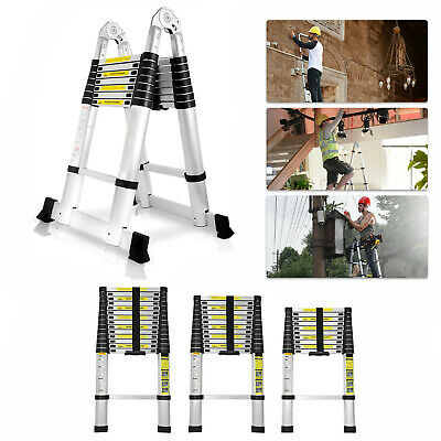 10.5ft 12.5ft 16.5ft Aluminum Multi-purpose Telescopic Ladder Extension Foldable