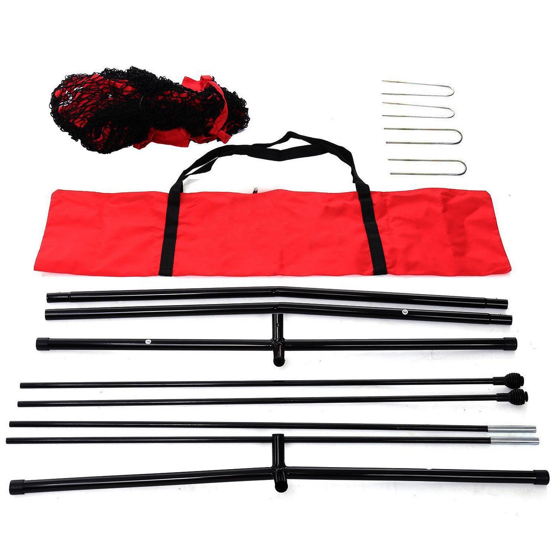 7×7 Hitting Baseball Softball Practice Net Bundle with Red Bag + Ball Caddy Baseball & Softball