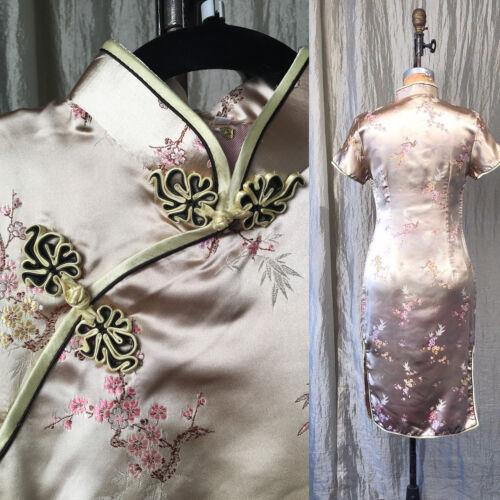S Ivory Black Satin Brocade Cheong-sam Cosplay Chinese Costume VTG 90s