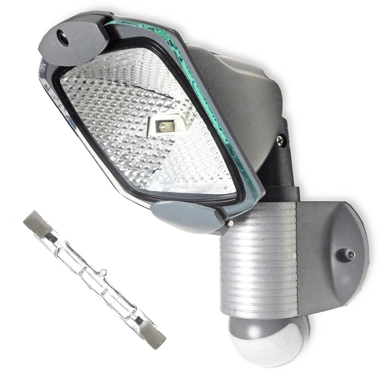 Adjustable Security Outdoor External Light PIR Sensor Manual Overide & R7 Bulb