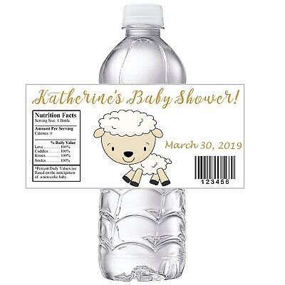 Gold And White Party (WHITE and GOLD LITTLE LAMB BABY SHOWER PARTY FAVORS WATER BOTTLE LABELS)