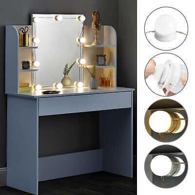 Schminktisch Kosmetiktisch Frisiertisch Spiegel Kommode LED Weiß modern ArtLife®