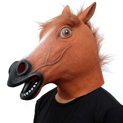 Masque Costumes (Cosplay Halloween Horse Head Mask Latex Animal ZOO Party Costume Prop Toys)