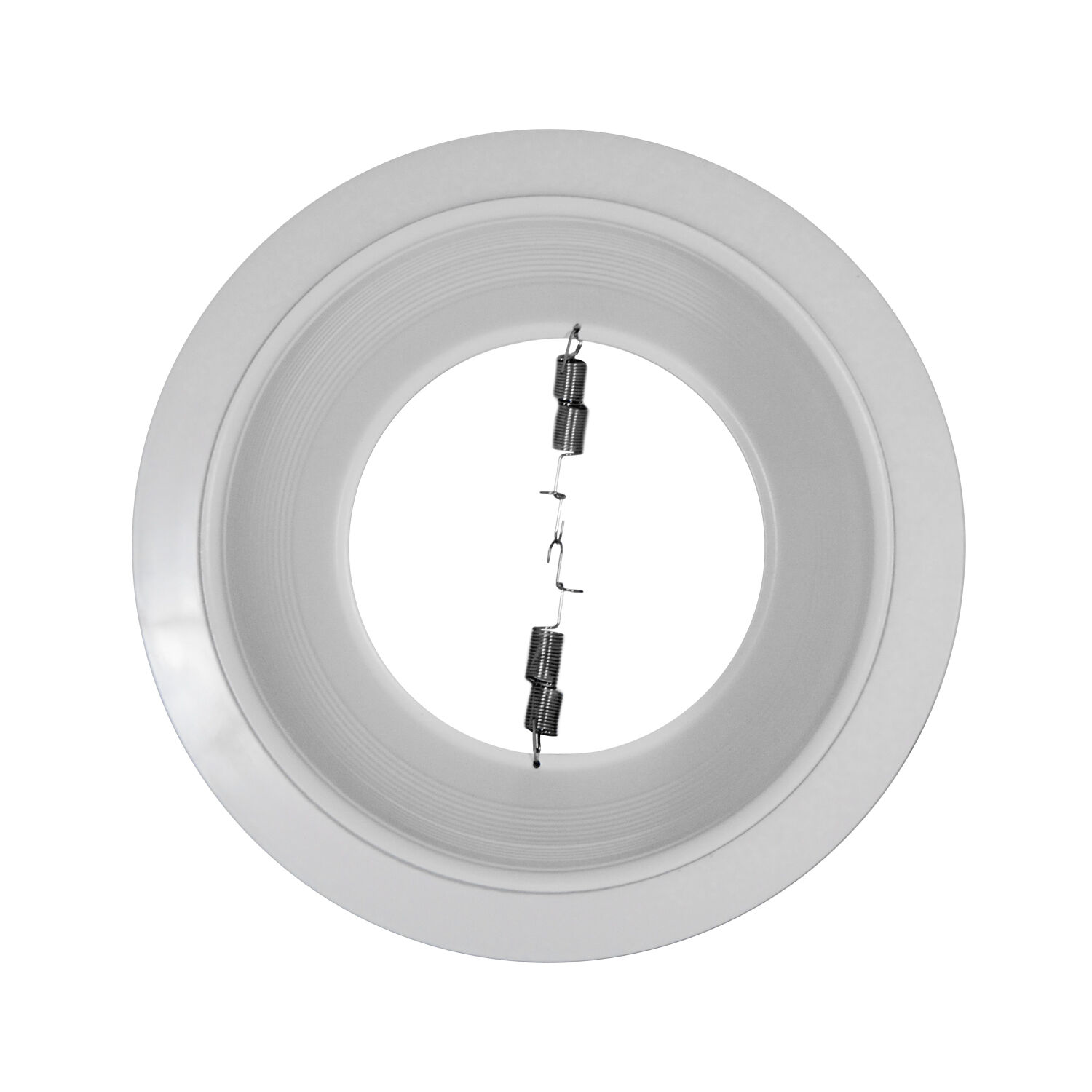 """Trim To Hide Undercabinet Lights: 6"""" White Stepped Baffle Trim White Ring Recessed Housing"""