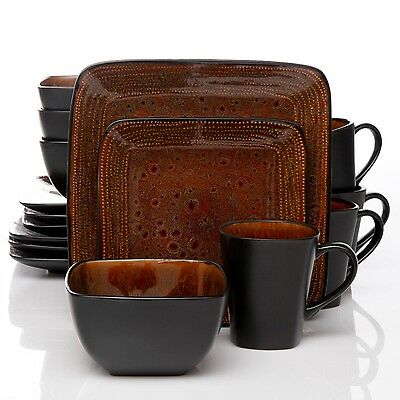 16 PIECE GIBSON ATLAS SQUARE DINNERWARE SET of DISHES SERVICE for 4 BLACK &BROWN