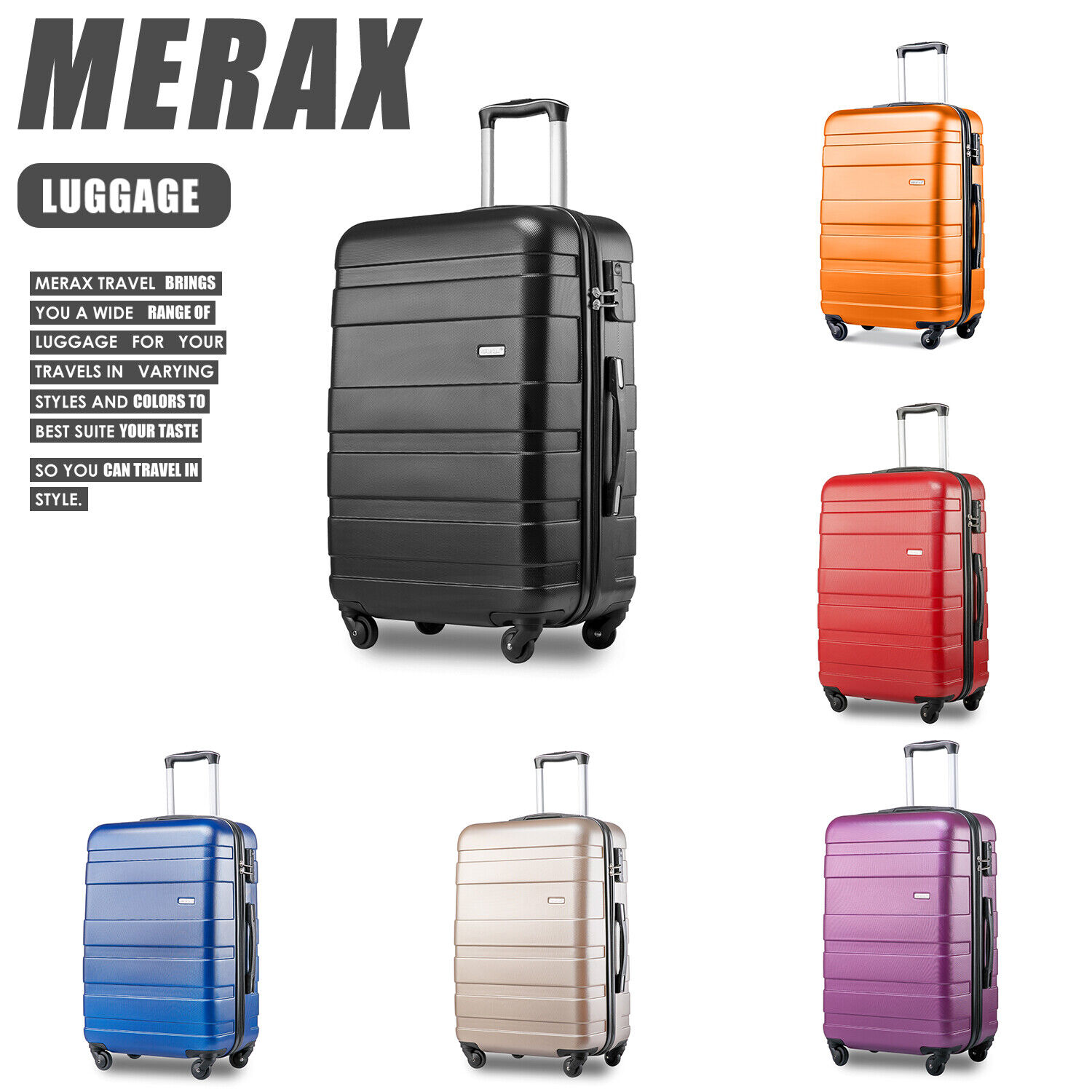 89bd1e2274de Lightweight Suitcases Hard Shell Travel 4 Wheels Spinner  Luggage(20/24/28/SET)