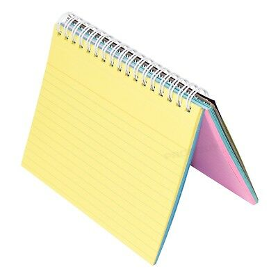 Set Of 2 Spiral 50 Sheet Index Cards 6 X 4 Lined Colour Revision Note Pad Books