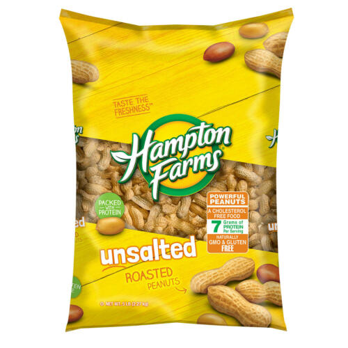 (5 Pack) Hampton Farms 5LB Unsalted In-Shell Roasted Peanuts Non-GMO(Total 25LB)