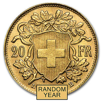 Swiss Gold 20 Francs Helvetia Almost Uncirculated AU (Random Year) - SKU #19