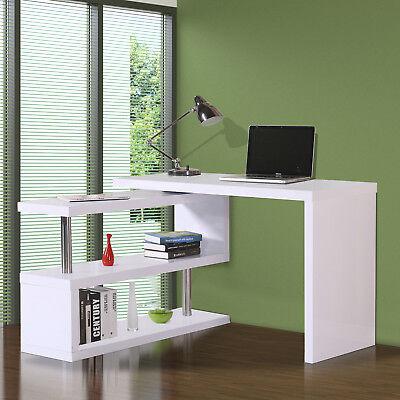 HOMCOM Home Office Computer Desk Table Storage Shelf Wooden L Shape