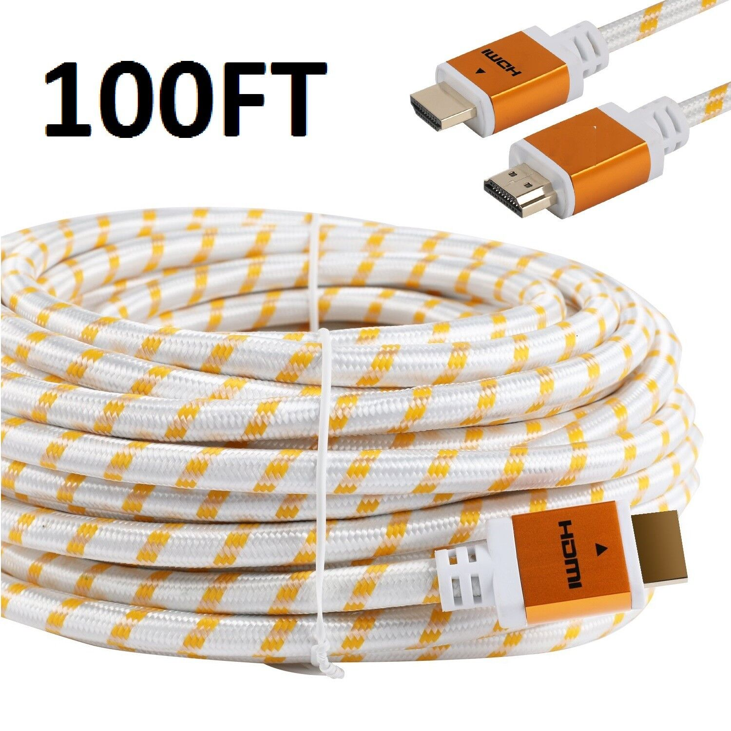 PREMIUM HDMI CABLE 100FT For 3D DVD PS3 HDTV XBOX LCD HD TV 1080P v1.4 White US Consumer Electronics