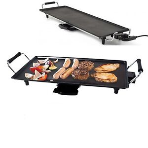 2KW LARGE ELECTRIC TEPPANYAKI TABLE TOP GRILL GRIDDLE BBQ GARDEN CAMPING CARAVAN