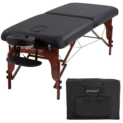 Portable Massage Table Height Adjustable 2 Fold Massage Table 77″ L30″ W 3″Thick Health & Beauty