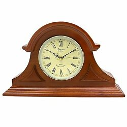 Bedford Mahogany Cherry Oak Wood Finish Mantel Shelf Desk Clock with 4 Chimes