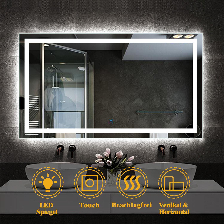 Wandspiegel 50-160 cm LED Spiegel mit TOUCH BESCHLAGFREI Badspiegel Kaltweiß