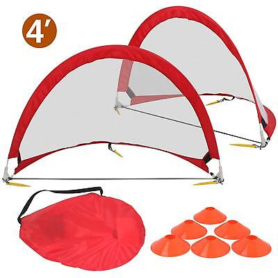 4 feet Round Set of 2 Pop-Up Soccer Goals for Children Football Gaming Portable