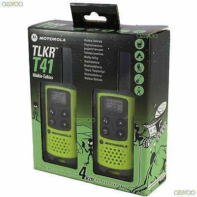 2 Motorola TLKR T41 Walkie Talkie PMR 446 2 Way 4KM 2M Radio Set Twin Pack Green