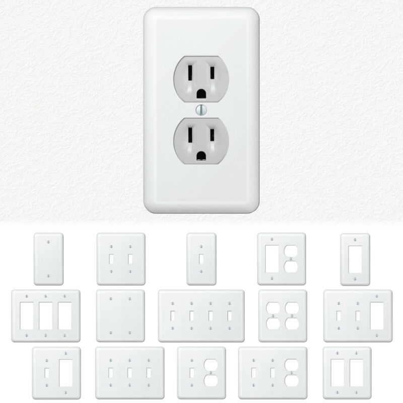 White Metal Wall Switch Plate Outlet Cover Toggle Duplex Rocker - Enamel Finish