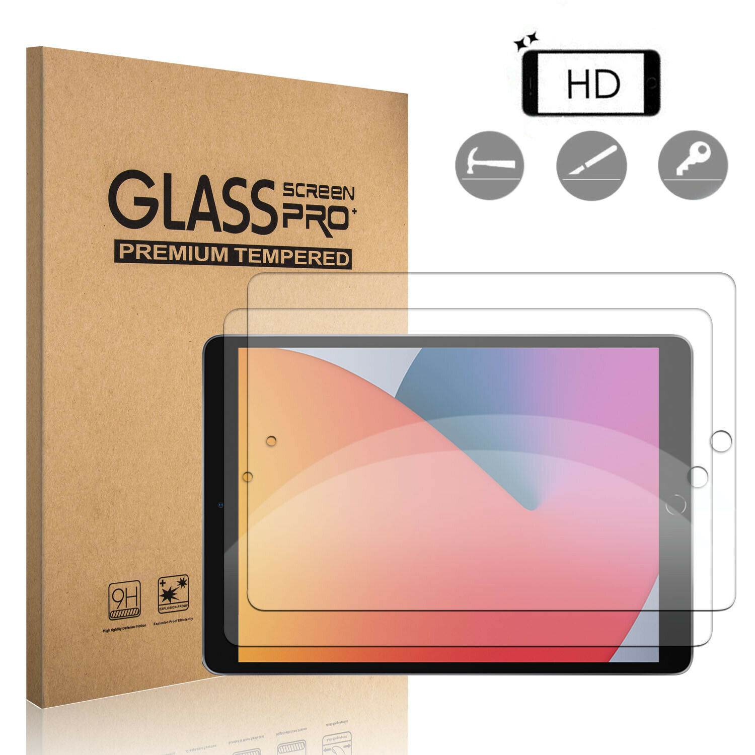 For iPad 10.2 inch 8th Generation,Air 4th Gen HD Tempered Glass Screen Protector Cell Phone Accessories