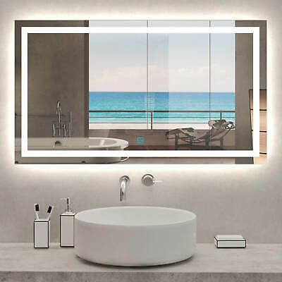 Large Bathroom Wall Mirror with LED Lights,Demister | Touch Sensor | Rectangular