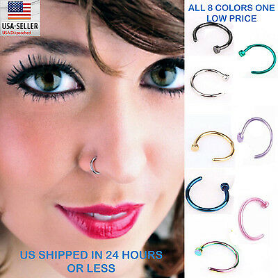 8pcs Nose Ring Open Hoop Lip Body Piercing clip on Studs Stainless Steel Jewelry - Hoop Body Jewelry