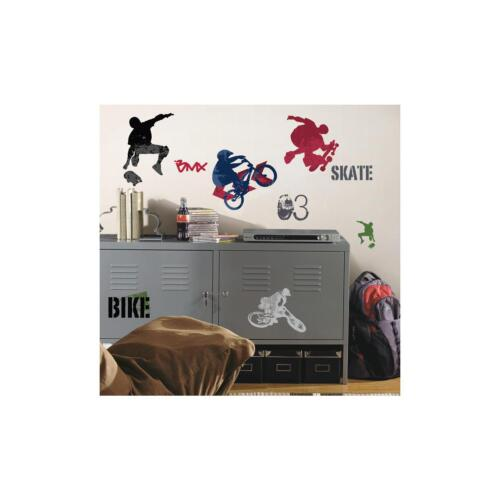 Extreme sports wall stickers 25 decals bike bmx skateboard for Bmx bedroom ideas