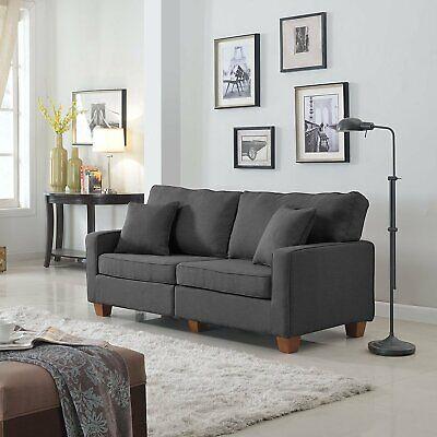 Contemporary Modern Couch 73-inch Linen Fabric Loveseat Sofa Wood Legs Dark Grey