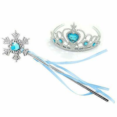 Principessa Frozen Blu Corona Tiara Bacchetta Magica Set Regalo Elsa Dressing Up