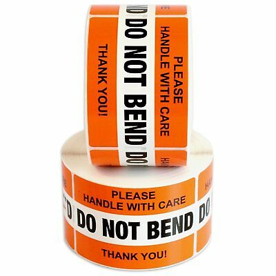 Orange Do Not Bend Label Stickers 2x 3 Handle With Care Waterproof Qs