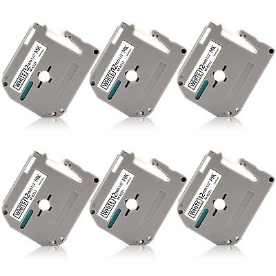 6pk Mk-231 12mm P-touch Label Tape Compatible For Brother Pt65 Pt85 Pt90 Pt110
